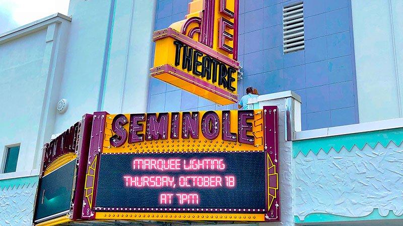 Lighting Celebration for Seminole Theatre Marquee