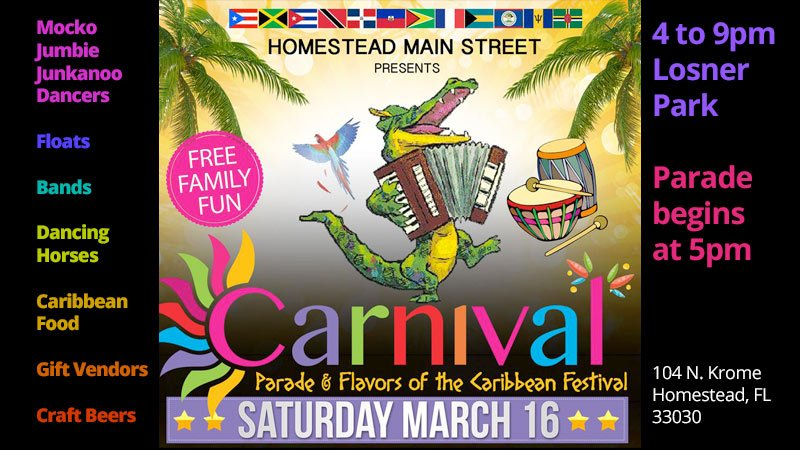 Homestead Main Street Carnival Parade and Flavors of the Caribbean Festival